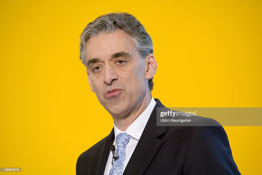 Frank Appel, Chief Executive Officer of Deutsche Post DHL, delivers his speech during the company's nine months press conference at Hilton Frankfurt Airport on November 8, 2012 in Frankfurt am Main, Germany.