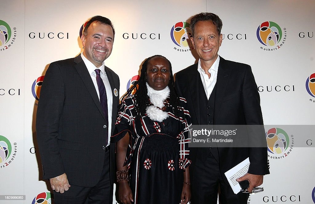 Frank Beadle de Palomo, Jane Njoki Peris and Richard E Grant attend the mothers2mothers cocktail party to celebrate reaching one million mothers in partnership with GUCCI at One Marylebone on October 3, 2013 in London, England.