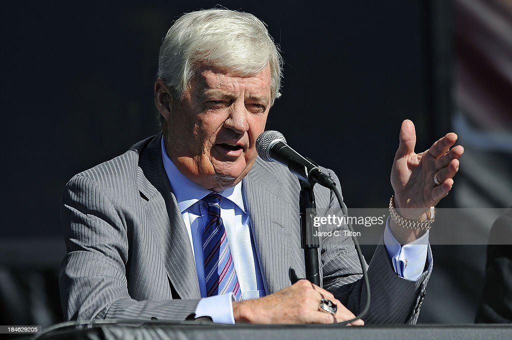 Frank Beamer, Virginia Tech Head Coach, speaks during a press conference at Bristol Motor Speedway on October 14, 2013 in Bristol, Tennessee. Bristol Motor Speedway plans to transform the legendary Speedway into the world's largest football stadium for the inaugural Battle at Bristol, College Football's Biggest EVER game to be held on Saturday, September 10, 2016. The event will feature a border battle between the Virginia Tech Hokies and Tennessee Volunteers and is projected to set the NCAA record for highest single-game attendance.