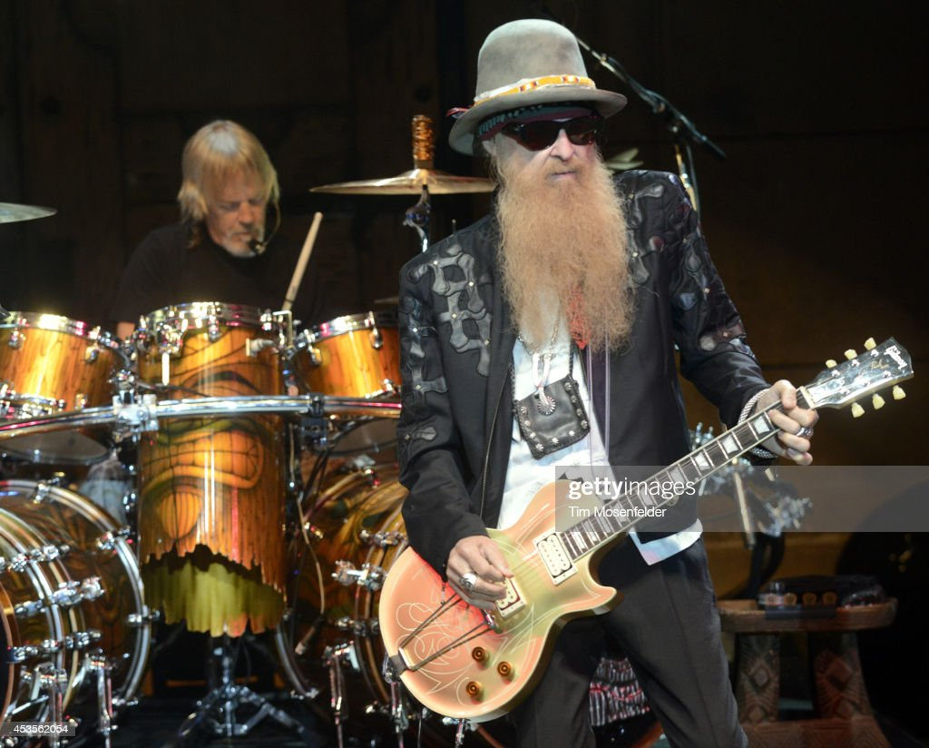 Frank Beard (L) and Billy Gibbons of ZZ Top perform as part of the 'Beards N' Beck Tour 2014' at The Mountain Winery on August 12, 2014 in Saratoga, California.