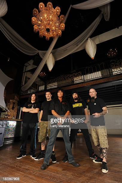 Frank Bello Charlie Benante Joey Belladonna Rob Caggiano and Scott Ian of Anthrax pose for a portrait at Revolution on November 11 2011 in Fort...
