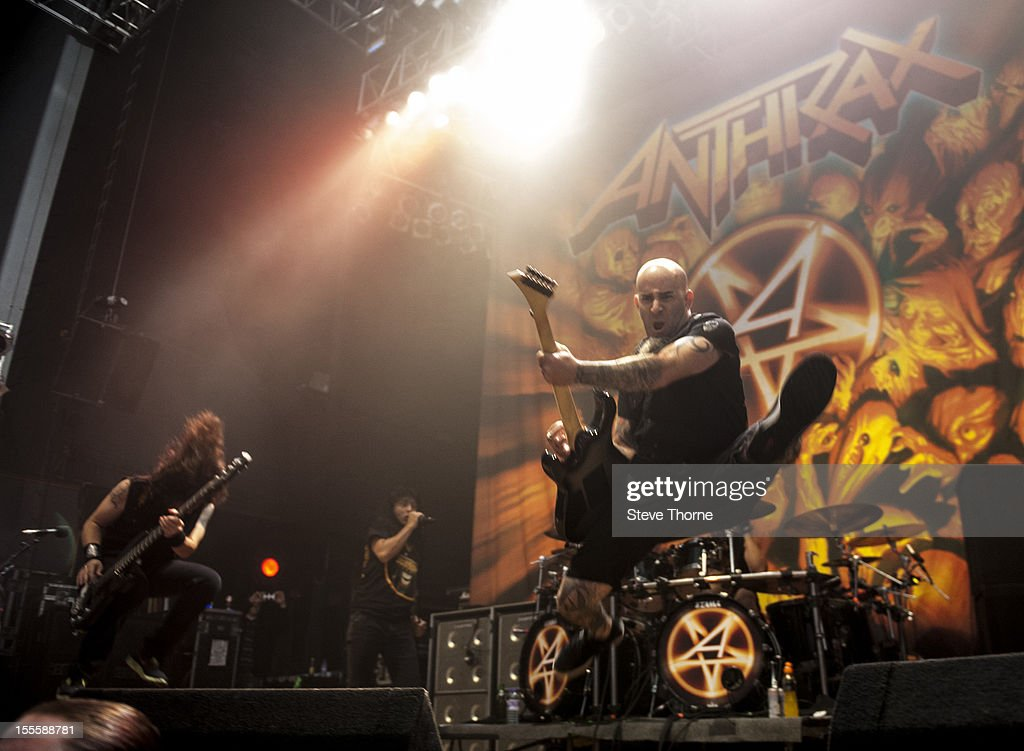 Frank Bello, Joey Belladonna and Scott Ian of Anthrax perform on stage at Wolverhampton Civic Hall on November 5, 2012 in Wolverhampton, United Kingdom.