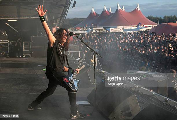 Frank Bello of Anthrax performing live at Bloodstock Festival at Catton Park on August 14 2016 in Burton upon Trent England