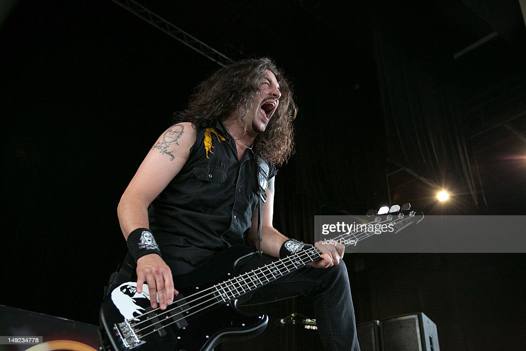 Frank Bello of Anthrax performs onstage during the 2012 Rockstar Energy Drink Mayhem Festival at the Riverbend Music Center on July 24, 2012 in Cincinnati, Ohio.