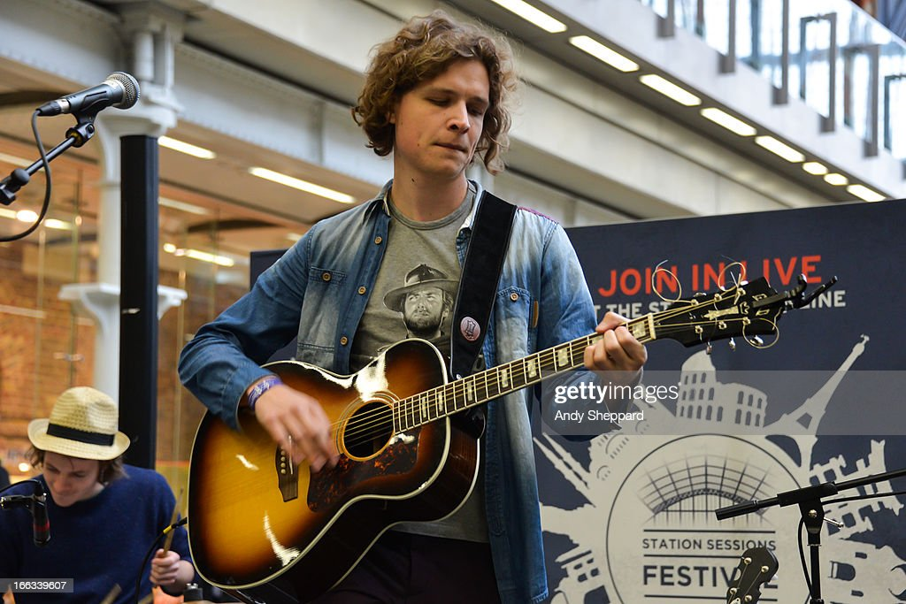 Frank Bond of the Dutch band AlascA performs at Station Sessions Festival 2013 at St Pancras Station on April 11, 2013 in London, England.