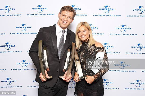 Frank Briegmann and Helene Fischer attend the preparty hosted by Universal Music ahead of the Echo Award 2016 at ICB on April 7 2016 in Berlin Germany