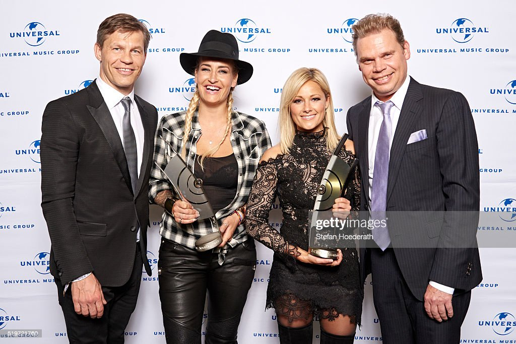 Frank Briegmann Sarah Connor Helene Fischer and Tom Bohne attend the preparty hosted by Universal Music ahead of the Echo Award 2016 at ICB on April...