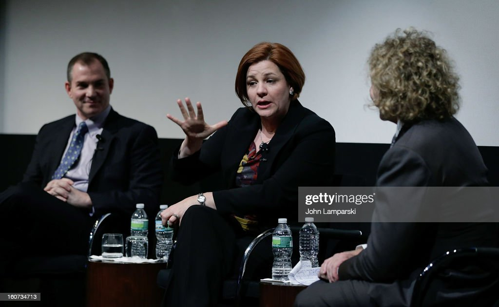 Frank Bruni and New York City Council Speaker <a gi-track='captionPersonalityLinkClicked' href=/galleries/search?phrase=Christine+Quinn&family=editorial&specificpeople=550180 ng-click='$event.stopPropagation()'>Christine Quinn</a> attend Same-Sex Marriage: Law & Culture Press Conference With Debra Messing at Time Warner Screening Room on February 4, 2013 in New York City.