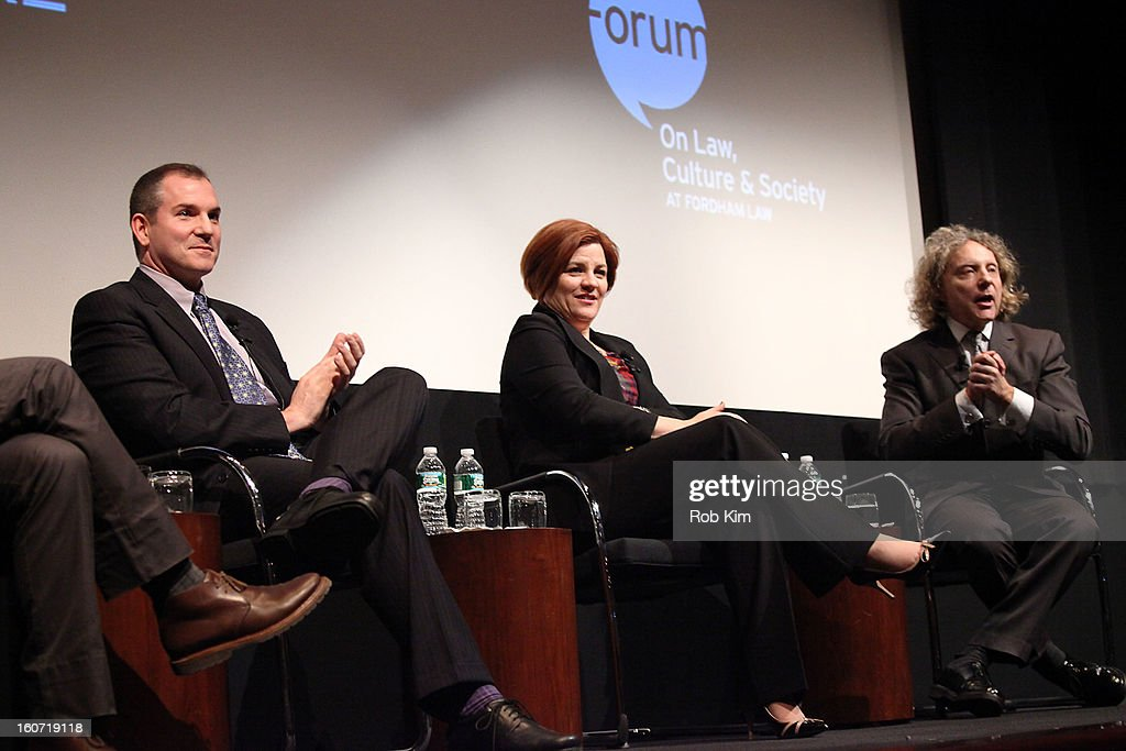 Frank Bruni, <a gi-track='captionPersonalityLinkClicked' href=/galleries/search?phrase=Christine+Quinn&family=editorial&specificpeople=550180 ng-click='$event.stopPropagation()'>Christine Quinn</a> and Thane Rosenbaum attend Same-Sex Marriage: Law & Culture Panel Discussion at Time Warner Screening Room on February 4, 2013 in New York City.