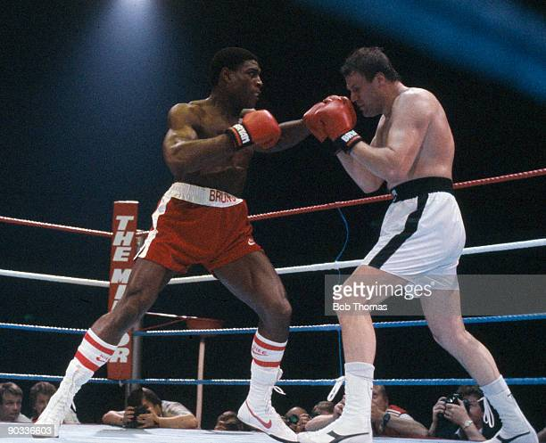 Frank Bruno of Great Britain in action against Anders Eklund of Sweden for the European Heavyweight Championship Title in London 1985 Bruno won the...