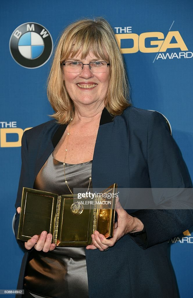 Frank Capra Achievement Award Recipient Mary Rae Thewlis poses in the Press Room at the 68 Annual Directors Guild Awards In Century City, California, in February 6, 2016. / AFP / Valerie Macon