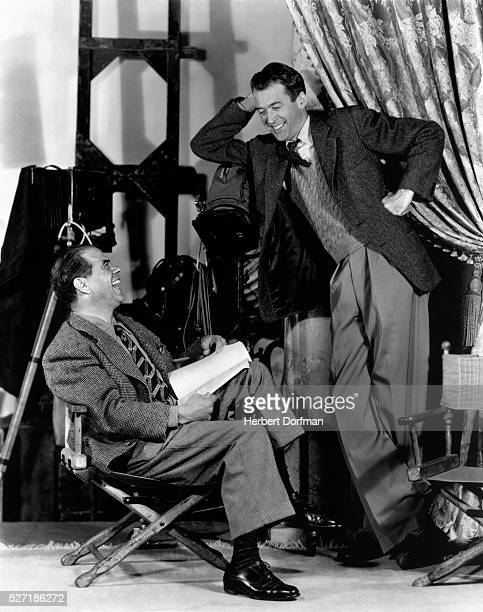 Frank Capra and James Stewart on the set of It's a Wonderful Life