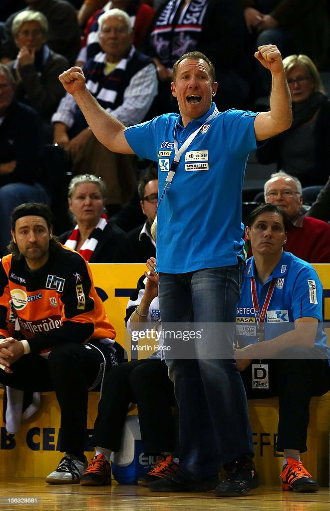 Frank Carstens, head coach of Magdeburg reacts during the DKB Handball Bundesliga match between SG Flensburg-Handewitt and SC Magdeburg at Campus Hall on November 13, 2012 in Flensburg, Germany.