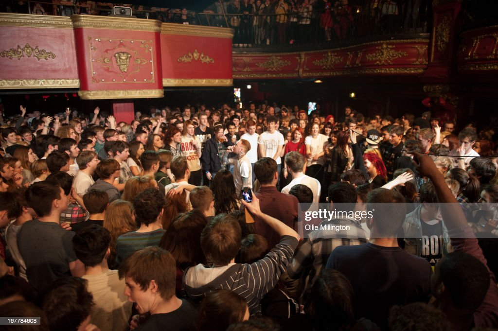 Frank Carter of Pure Love performs in the middle of the crowd during a sold out show at KOKO on April 18, 2013 in London, England.