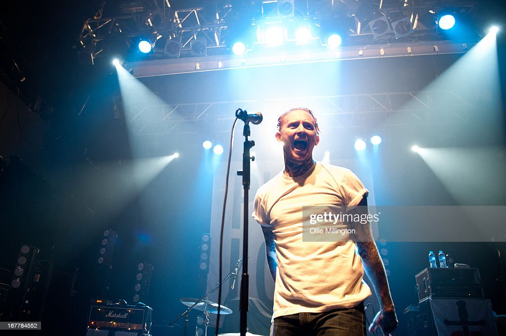 Frank Carter of Pure Love performs onstage during a sold out show at KOKO on April 18, 2013 in London, England.