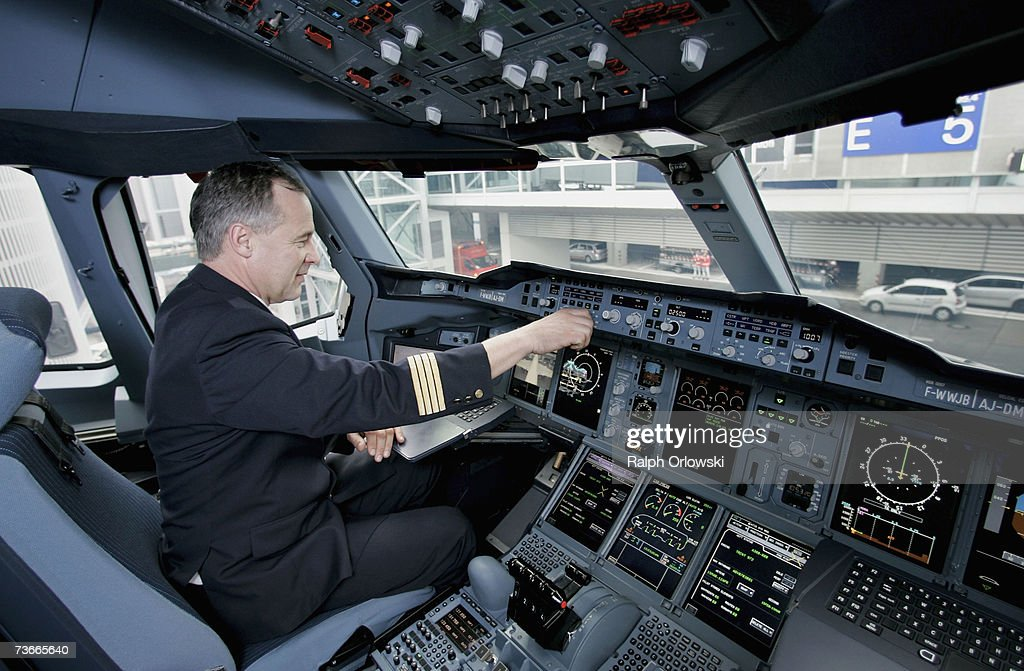 Frank Chapman, experimental test pilot of Airbus, sits in a cockpit of an Airbus A380 after landing at Frankfurt airport March 22, 2007 in Frankfurt, Germany. The 555-seat double-decker A380 returned from a test flight from JFK International Airport to test airport function and compatibility of the world's largest passenger aircraft.