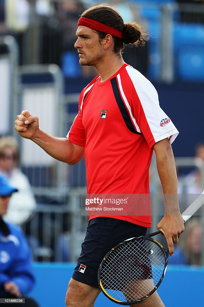 Frank Dancevic of Canada in action during his first round match against Dustin Brown of Jamaica on Day 2 of the the AEGON Championships at Queen's...