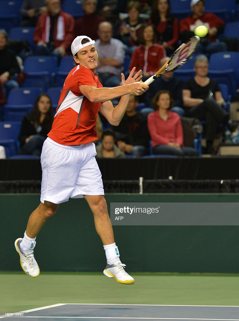Frank Dancevic of Canada plays against Albert Ramos of Spain in a Davis Cup World Group 4rd Singles Rubber on February 3, 2019 at the Doug Mitchell Thunderbird Sports Centre in Vancouver. Ramos of Spain, won the best two of three games. AFP PHOTO/Don