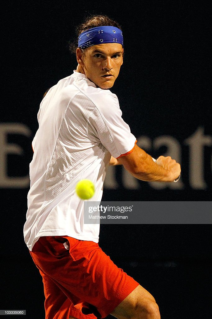 Frank Dancevic of Canada returns a shot to Stanislas Wawrinka of Switzlerand during the Rogers Cup at the Rexall Centre on August 10 2010 in Toronto...