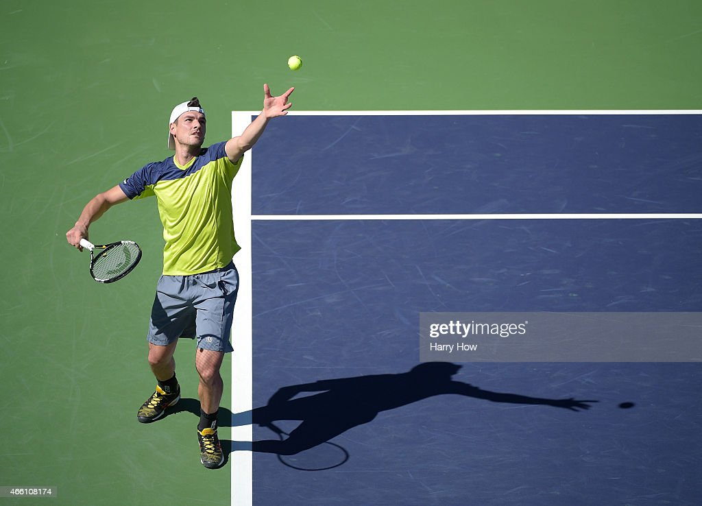 Frank Dancevic of Canada serves in his match against Alexandr Dologopolov of Ukraine during the BNP Parisbas Open at the Indian Wells Tennis Garden...