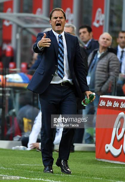 Frank de Boer head coach of FC Internazionale gestures during the Serie A match between FC Internazionale and Cagliari Calcio at Stadio Giuseppe...