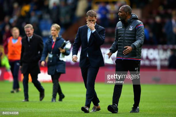 Frank de Boer Manager of Crystal Palace and assistant manager Orlando Trustfull during the Premier League match between Burnley and Crystal Palace at...