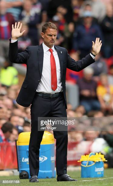 Frank de Boer Manager of Crystal Palace reacts during the Premier League match between Liverpool and Crystal Palace at Anfield on August 19 2017 in...
