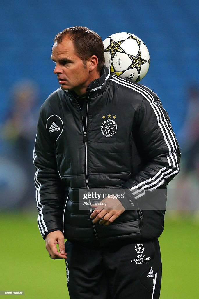 Frank De Boer the coach of Ajax Amsterdam juggles with the ball during a training session at Etihad Stadium on November 5, 2012 in Manchester, England.