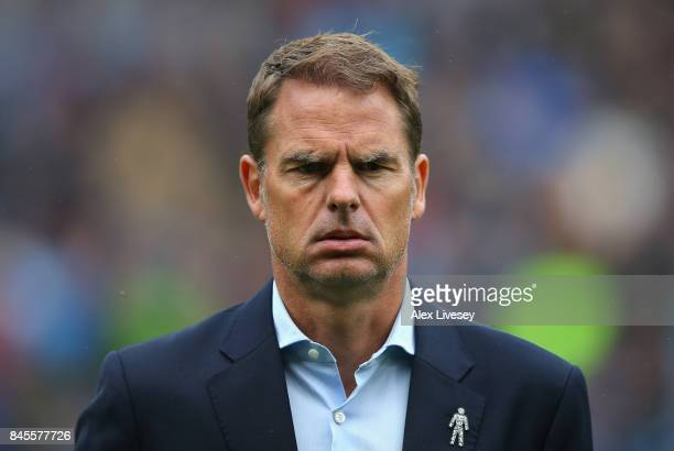 Frank de Boer the manager of Crystal Palace looks on during the Premier League match between Burnley and Crystal Palace at Turf Moor on September 10...