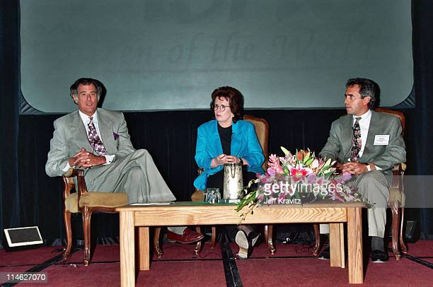 Frank DeFord Billie Jean King and Ross Greenberg during HBO's TCA 1994 at RItzCarlton in Pasadena CA United States