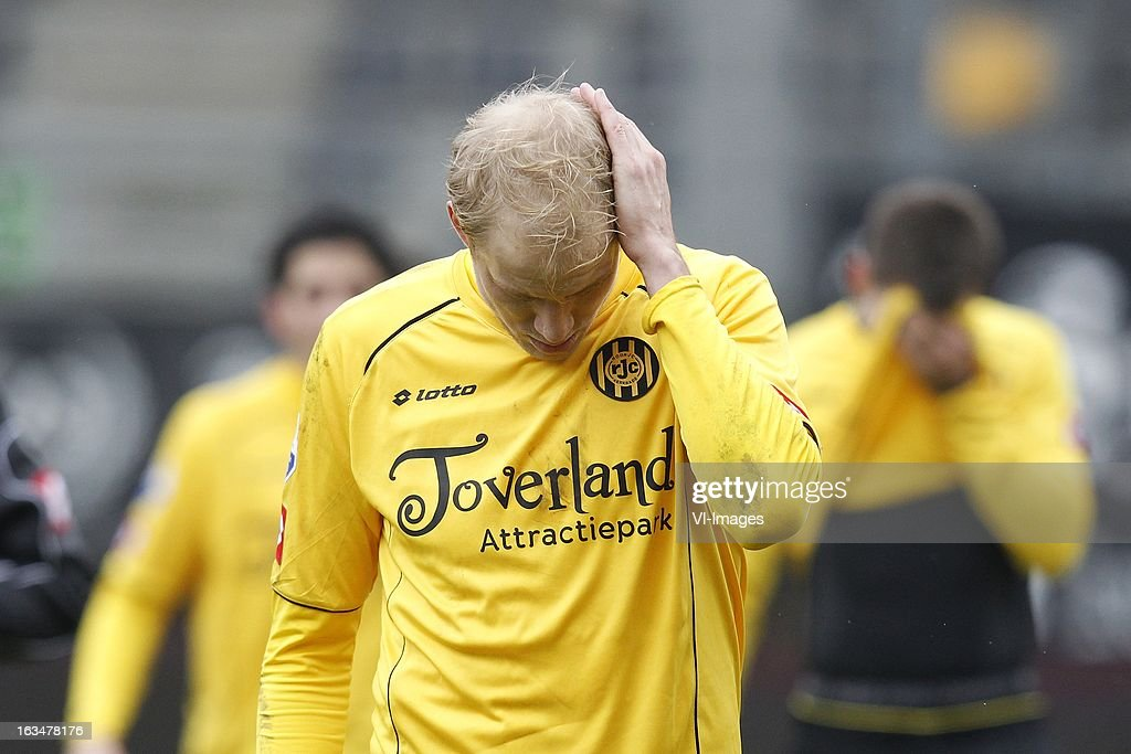 Frank Demouge of Roda JC during the Dutch Eredivisie match between Roda JC Kerkrade and Feyenoord at the Parkstad Limburg on march 10, 2013 in Kerkrade, The Netherlands