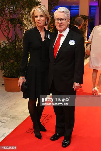 Frank Elstner and his wife Britta Gessler arrive the red carpet during the German Media Award 2014 on January 23 2015 in BadenBaden Germany