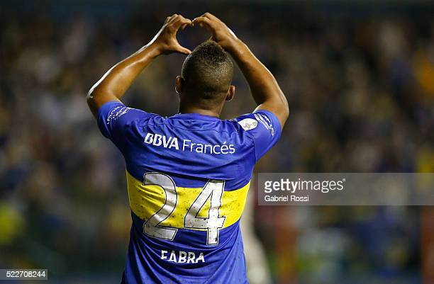 Frank Fabra of Boca Juniors celebrates after scoring the first goal of his team during a match between Boca Juniors and Deportivo Cali as part of...
