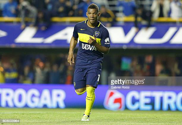 Frank Fabra of Boca Juniors celebrates after scoring the third goal of his team during a match between Boca Juniors and Belgrano as part of second...