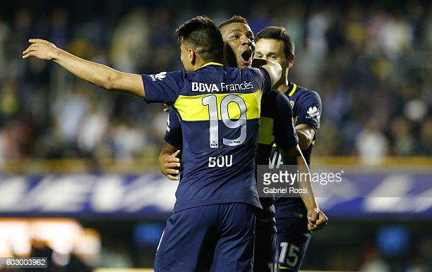 Frank Fabra of Boca Juniors celebrates with teammates after scoring the third goal of his team during a match between Boca Juniors and Belgrano as...