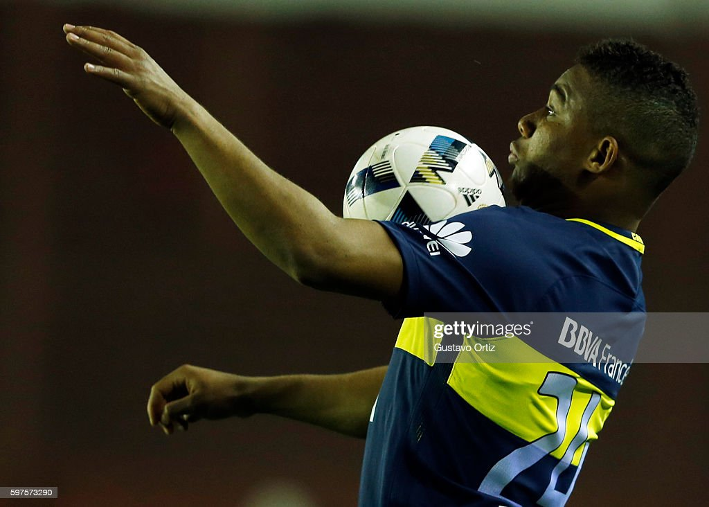 Frank Fabra of Boca Juniors controls the ball during a match between Lanus and Boca Juniors as part of first round of Campeonato de Primera Division...