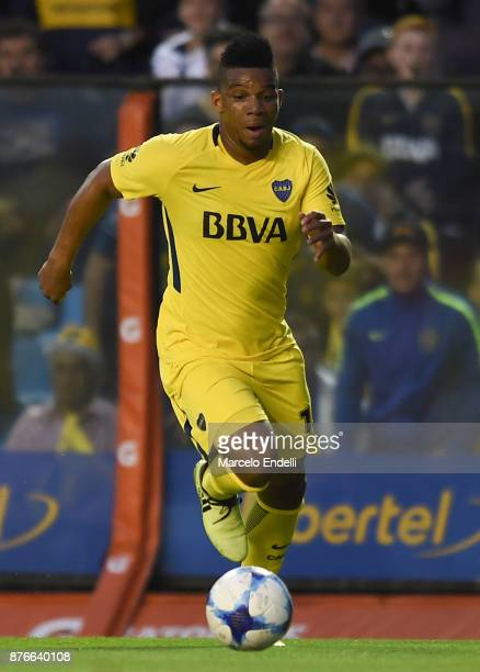 Frank Fabra of Boca Juniors drives the ball during a match between Boca Juniors and Racing Club as part of the Superliga 2017/18 at Alberto J Armando...