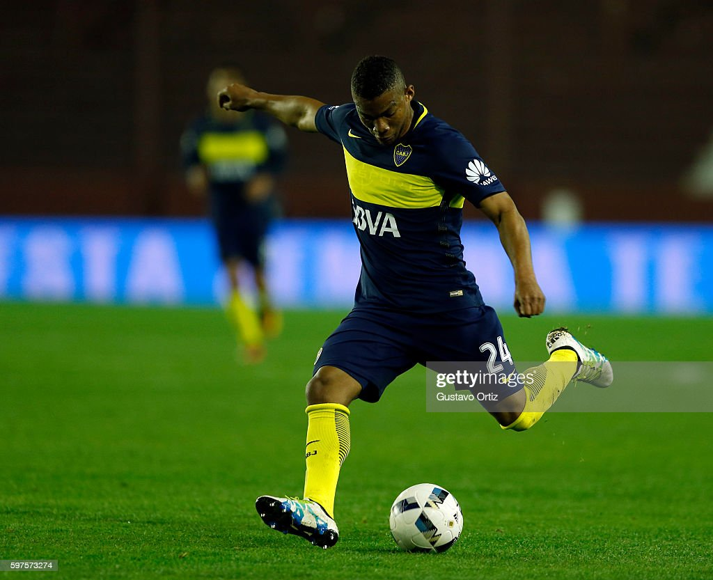 Frank Fabra of Boca Juniors kicks the ball during a match between Lanus and Boca Juniors as part of first round of Campeonato de Primera Division...
