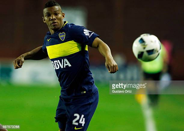 Frank Fabra of Boca Juniors looks the ball during a match between Lanus and Boca Juniors as part of first round of Campeonato de Primera Division...