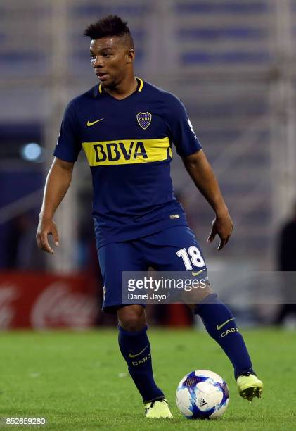 Frank Fabra of Boca Juniors plays the ball during a match between Velez Sarsfield and Boca Juniors as part of the Superliga 2017/18 at Estadio Jose...