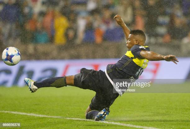 Frank Fabra of Boca Juniors try to kick the ball during a match between Velez Sarsfield and Boca Juniors as part of Torneo Primera Division 2016/17...