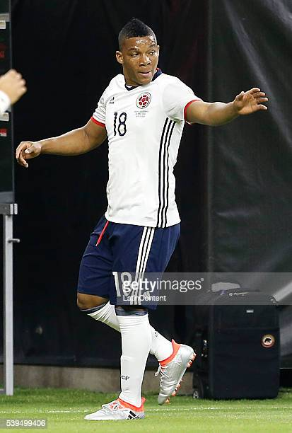 Frank Fabra of Colombia celebrates his goal against Costa Rica in the first half in group A match between Colombia and Costa Rica at NRG Stadium as...