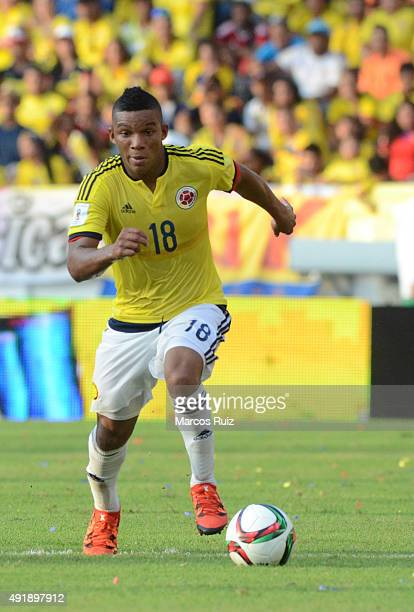Frank Fabra of Colombia drives the ball during a match between Colombia and Peru as part of FIFA 2018 World Cup Qualifier at Metropolitano Roberto...