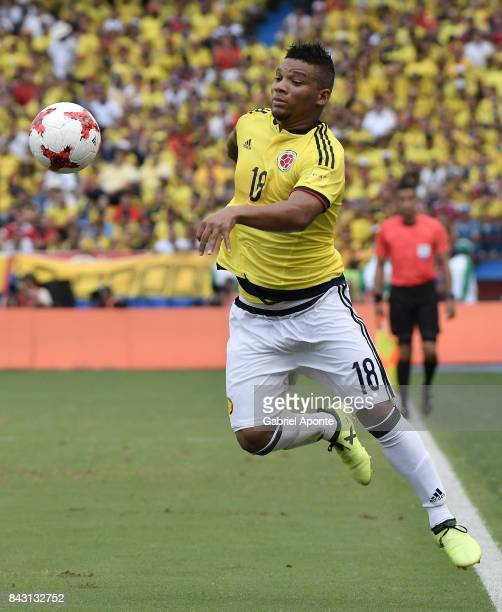 Frank Fabra of Colombia drives the ball during a match between Colombia and Brazil as part of FIFA 2018 World Cup Qualifiers at Metropolitano Roberto...
