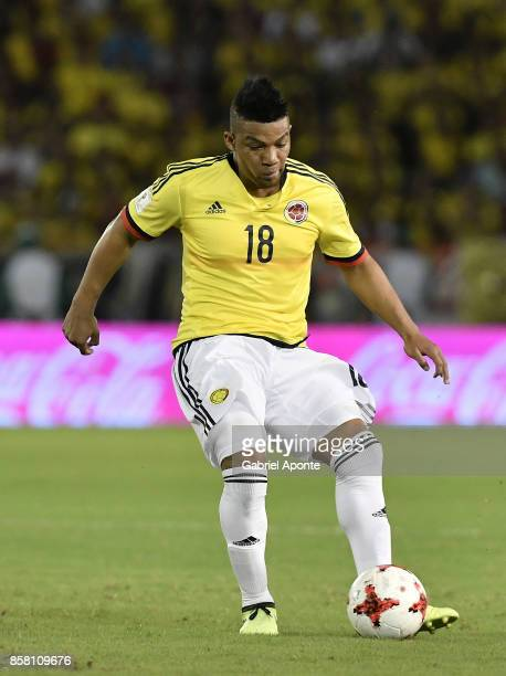 Frank Fabra of Colombia drives the ball during a match between Colombia and Paraguay as part of FIFA 2018 World Cup Qualifiers at Metropolitano...