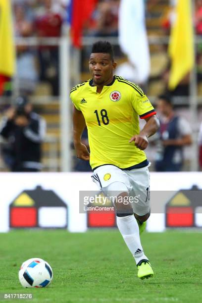 Frank Fabra of Colombia plays the ball during a match between Venezuela and Colombia as part of FIFA 2018 World Cup Qualifiers at Pueblo Nuevo...
