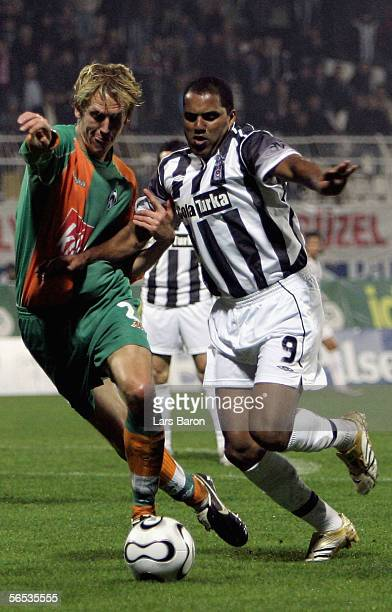 Frank Fahrenhorst of Bremen challenges Ailton of Besiktas for the ball during the match between Werder Bremen and Besiktas for the Efes Pilsen Cup on...