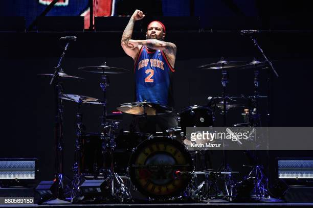 Frank Ferrer of Guns N' Roses performs onstage during the 'Not In This Lifetime' Tour at Madison Square Garden on October 11 2017 in New York City