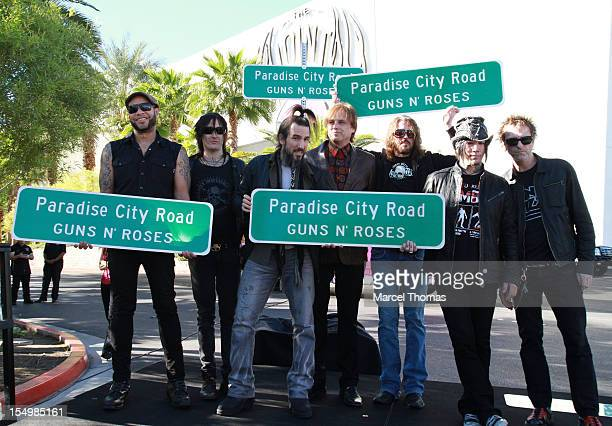 R] Frank Ferrer Richard Fortus Ron 'Bumblefoot' Thal Chris Pittman Dizzy Reed Dj Ashba and Tommy Stinson of the band of Guns N' Roses join Clark...
