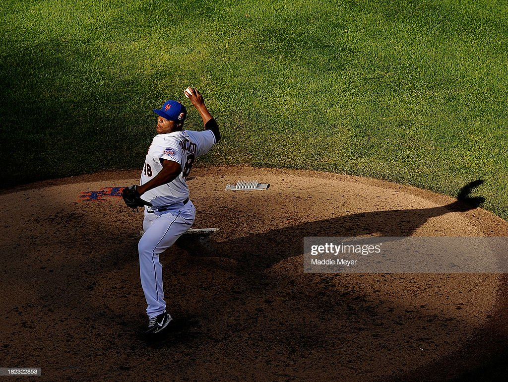 <a gi-track='captionPersonalityLinkClicked' href=/galleries/search?phrase=Frank+Francisco&family=editorial&specificpeople=798081 ng-click='$event.stopPropagation()'>Frank Francisco</a> #48 of the New York Mets throws a pitch against the Milwaukee Brewers in the ninth inning at Citi Field on September 29, 2013 in New York City.